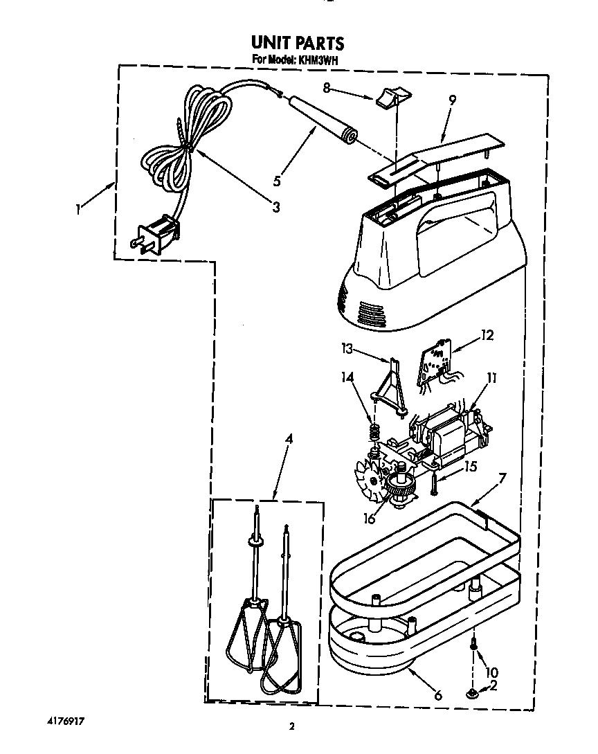 Kitchenaid model KHM3WH mixer- hand genuine parts