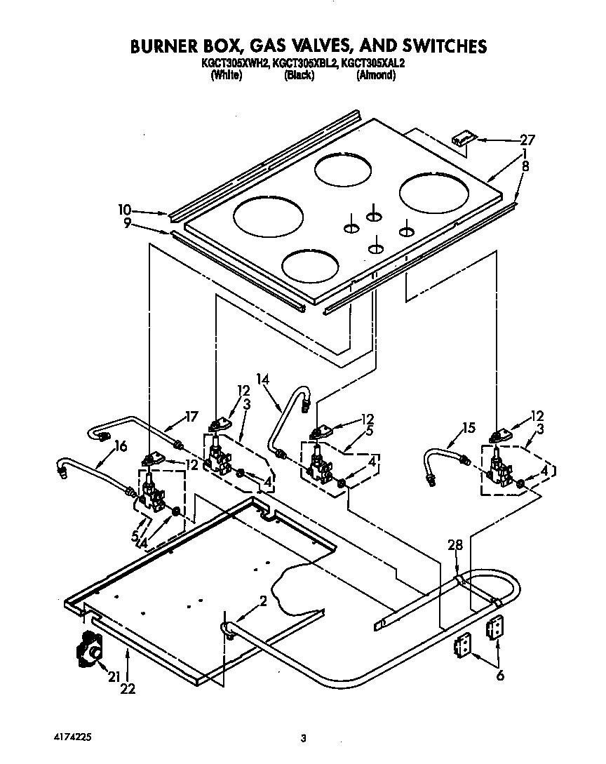Kitchenaid model KGCT305XWH2 counter unit, gas genuine parts