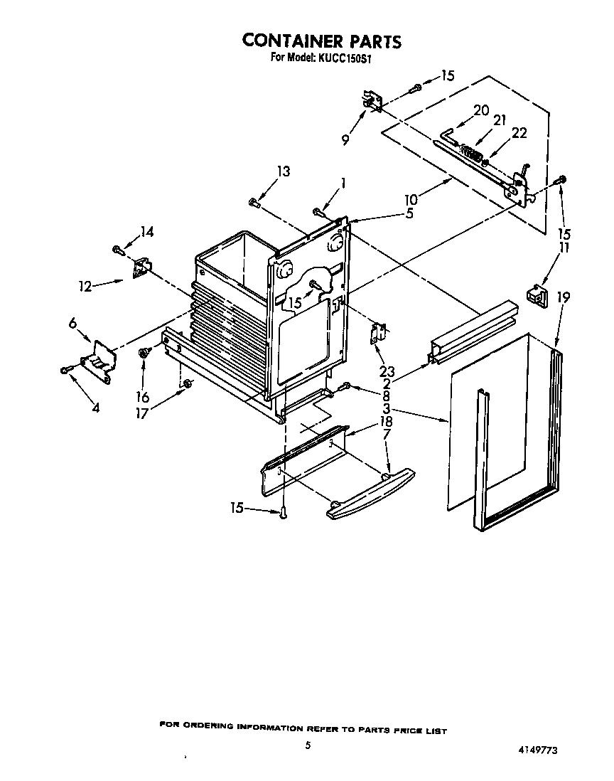 Kitchenaid model KUCC150S1 compactors genuine parts