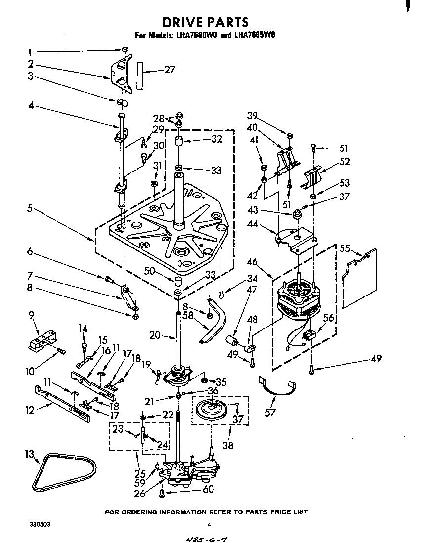 Whirlpool model LHA7680W0 washers genuine parts