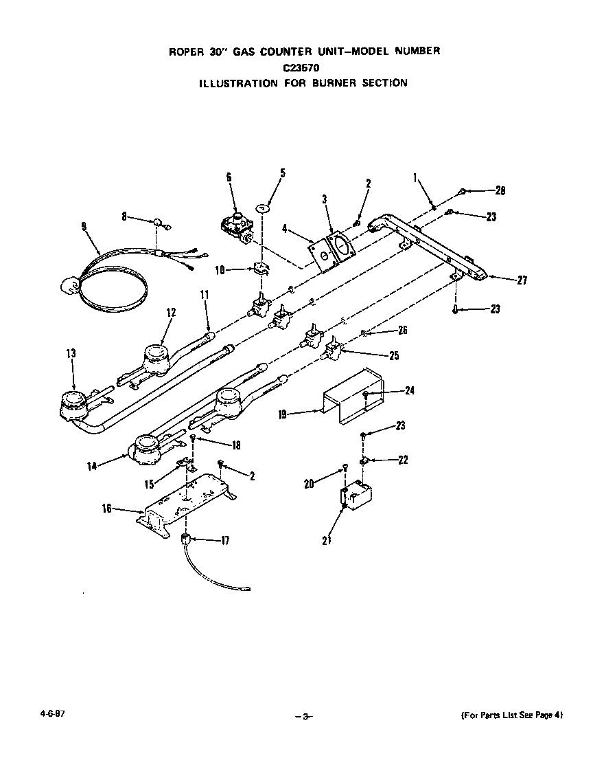 Roper model C2357*0 counter unit, gas genuine parts
