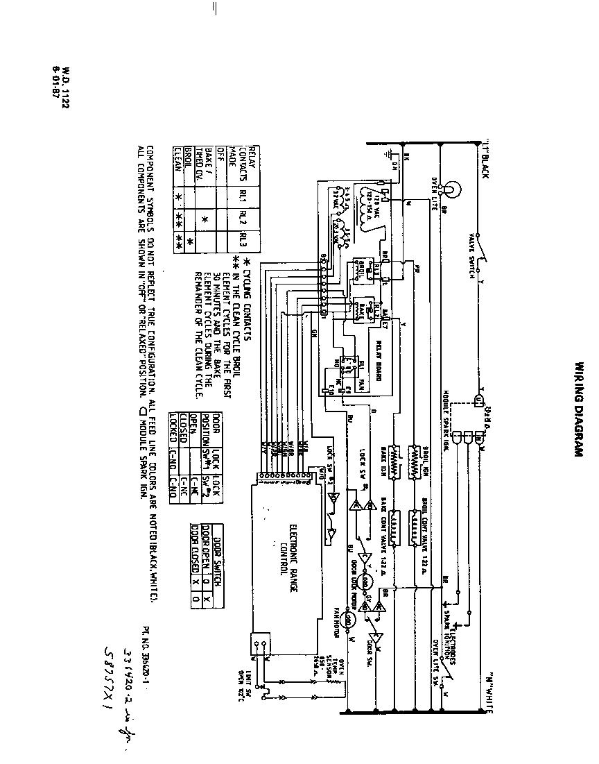 Roper model S8757*1 slide-in range, gas genuine parts