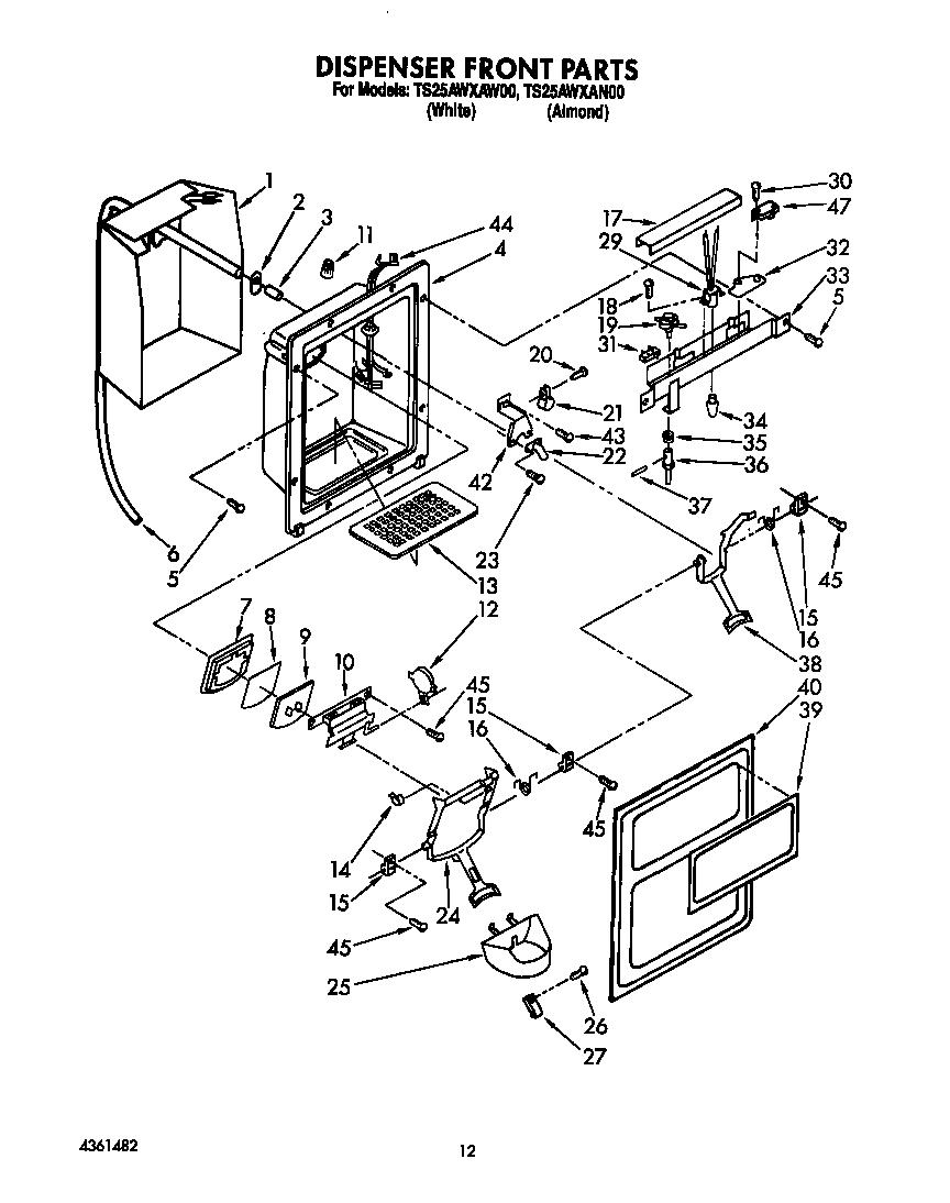 Estate model TS25AWXAW00 side-by-side refrigerator genuine