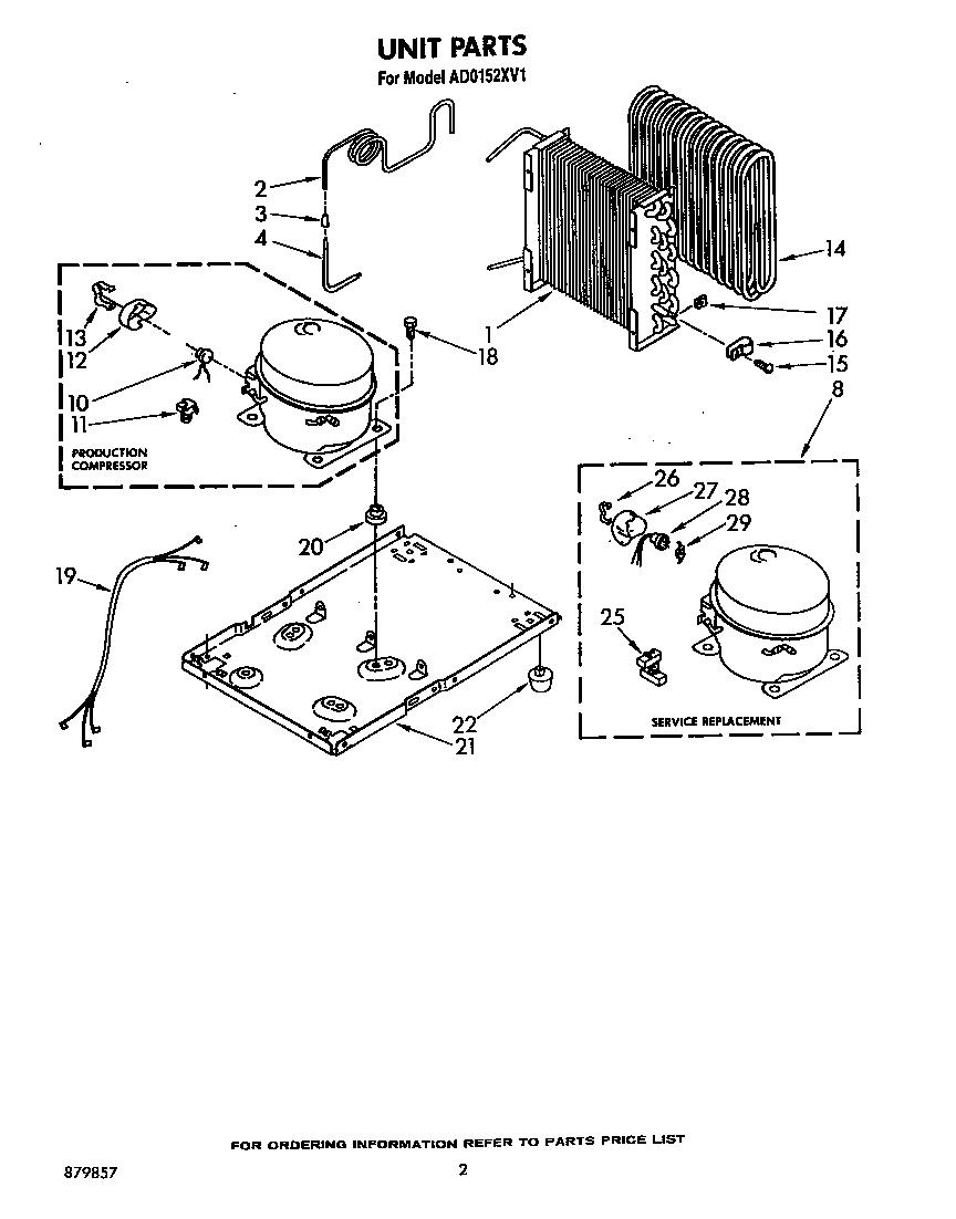 Whirlpool model AD0152XV1 dehumidifier genuine parts