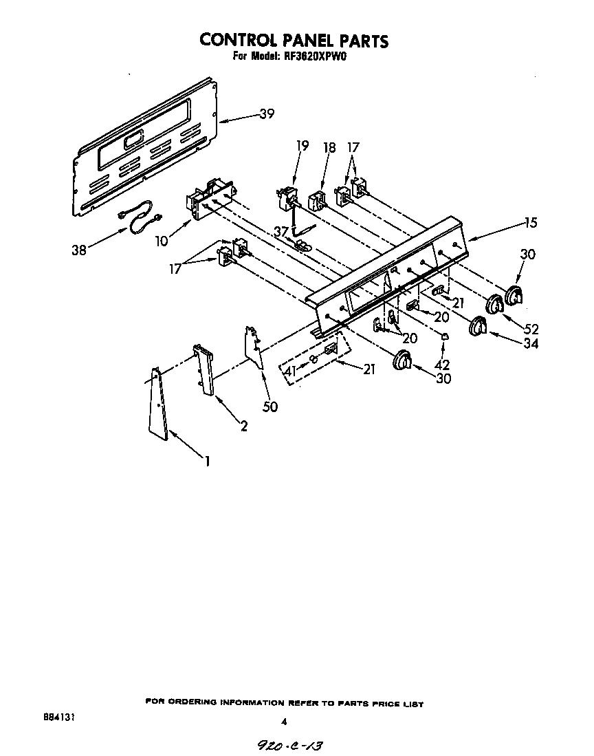Whirlpool model RF3620XPW0 free standing, electric genuine