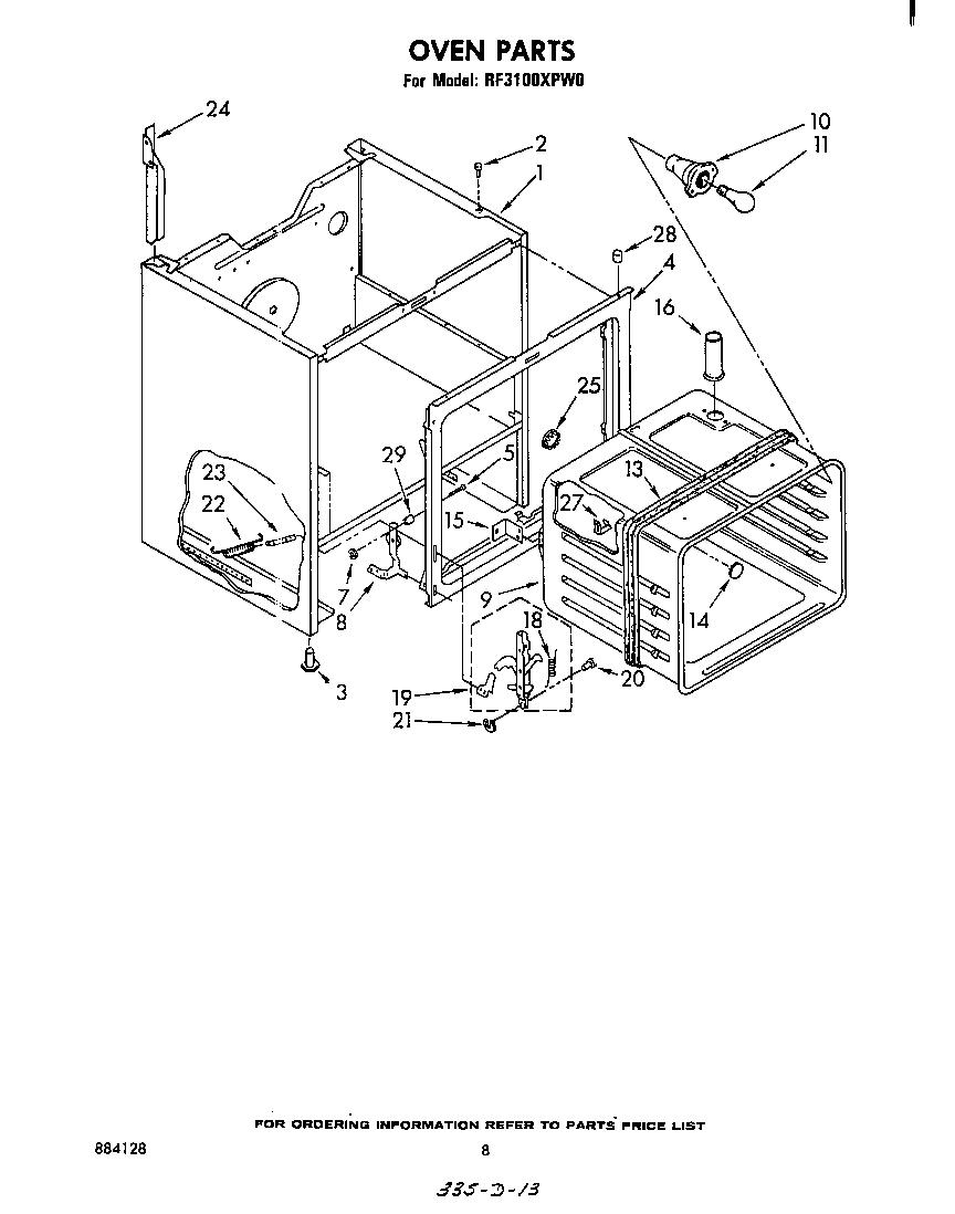 Whirlpool model RF3100XPW0 free standing, electric genuine