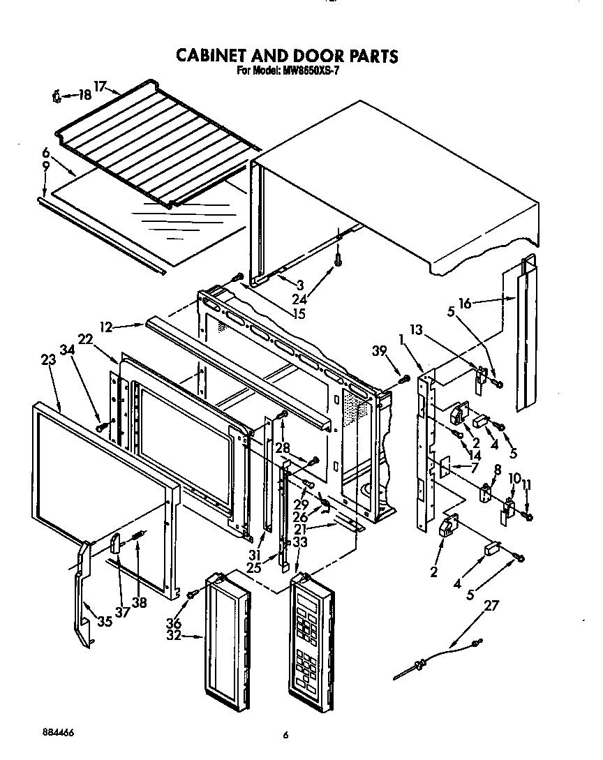Whirlpool model MW8650XS7 countertop microwave genuine parts