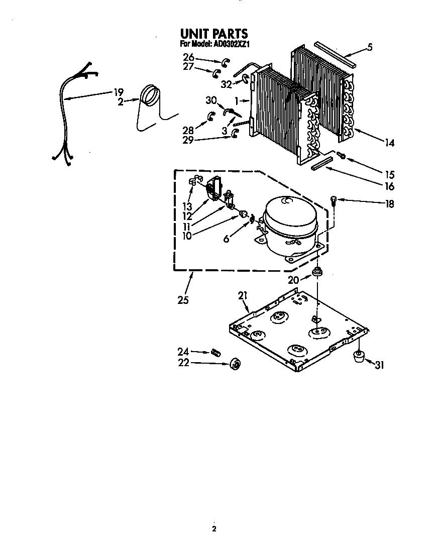Whirlpool model AD0302XZ1 dehumidifier genuine parts