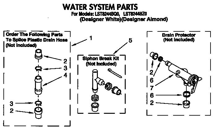 Whirlpool model LST8244BQ0 washers genuine parts