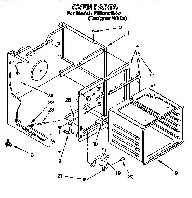 Roper model FES310BQ0 free standing, electric genuine parts