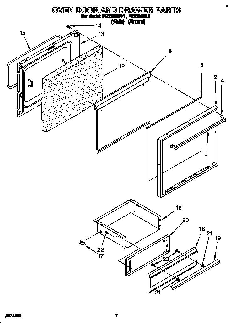 Roper model FGS385BL1 range (gas) genuine parts