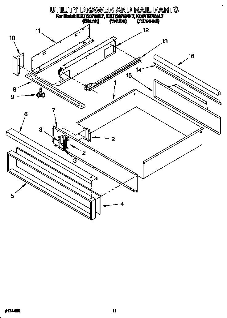 Kitchenaid model KDDT207BAL7 slide-in range, gas genuine parts