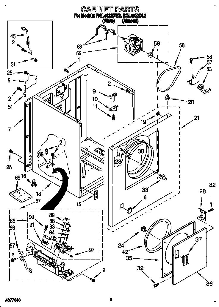 Roper model RGL4622BL2 residential dryer genuine parts