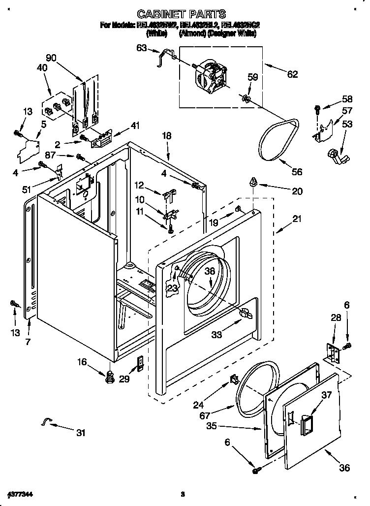 Roper model REL4632BQ2 residential dryer genuine parts
