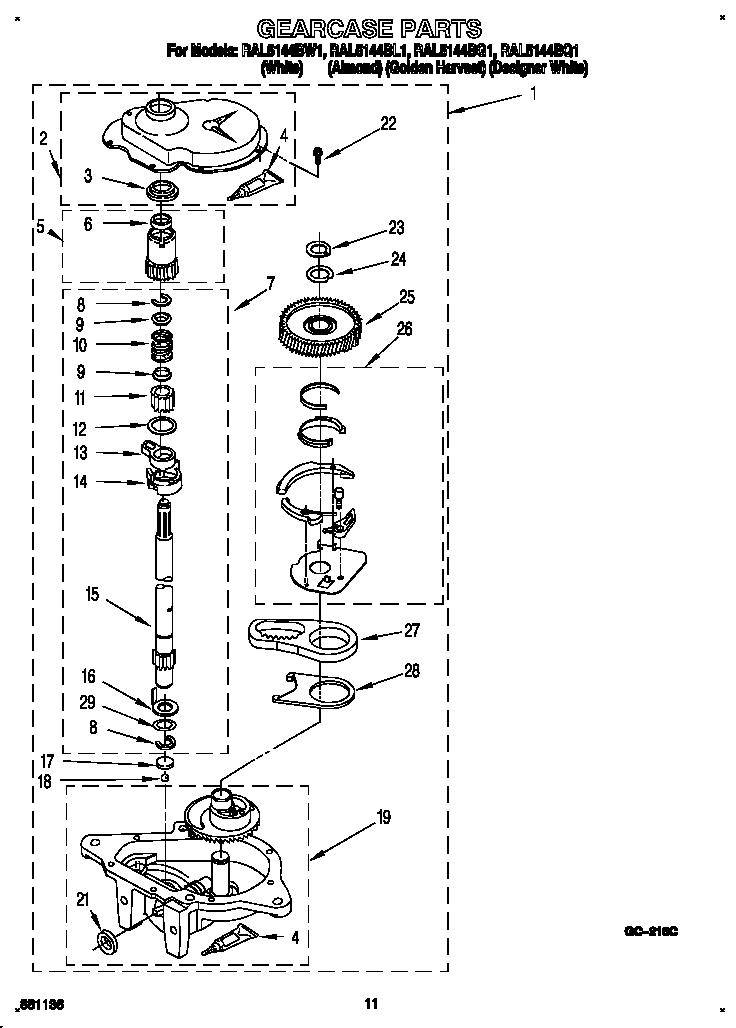 Roper model RAL5144BQ1 washers genuine parts