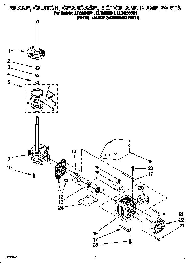 Whirlpool model LLR8233BQ1 residential washers genuine parts