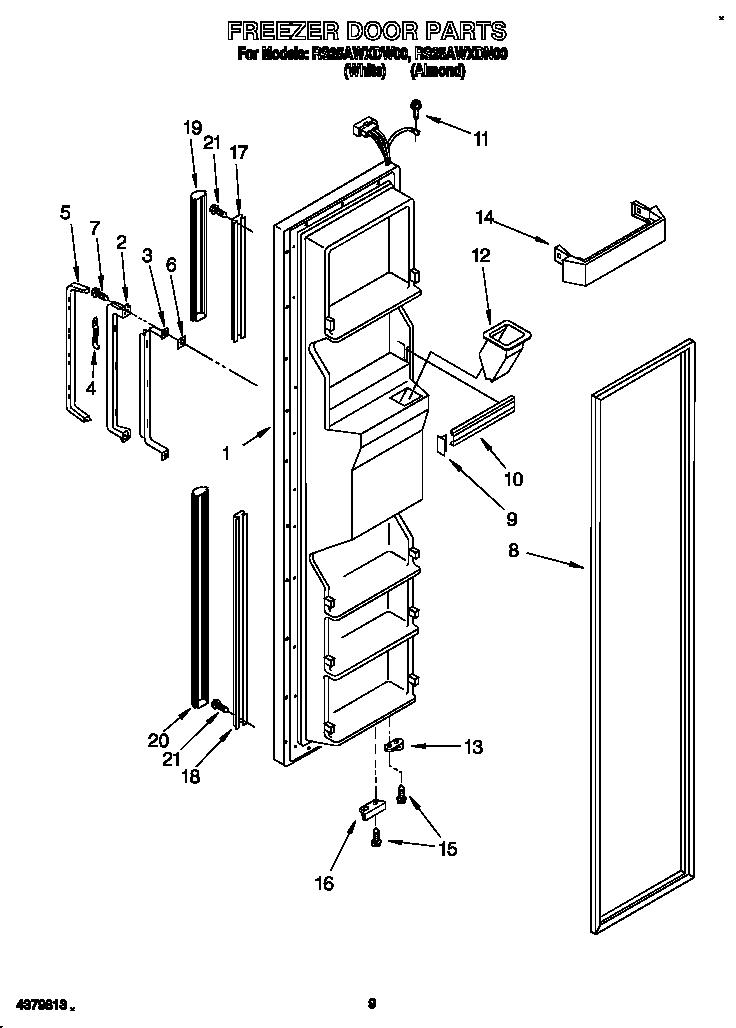 Roper model RS25AWXDN00 side-by-side refrigerator genuine