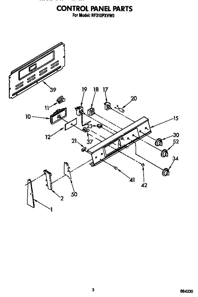 Whirlpool model RF310PXVN0 free standing, electric genuine
