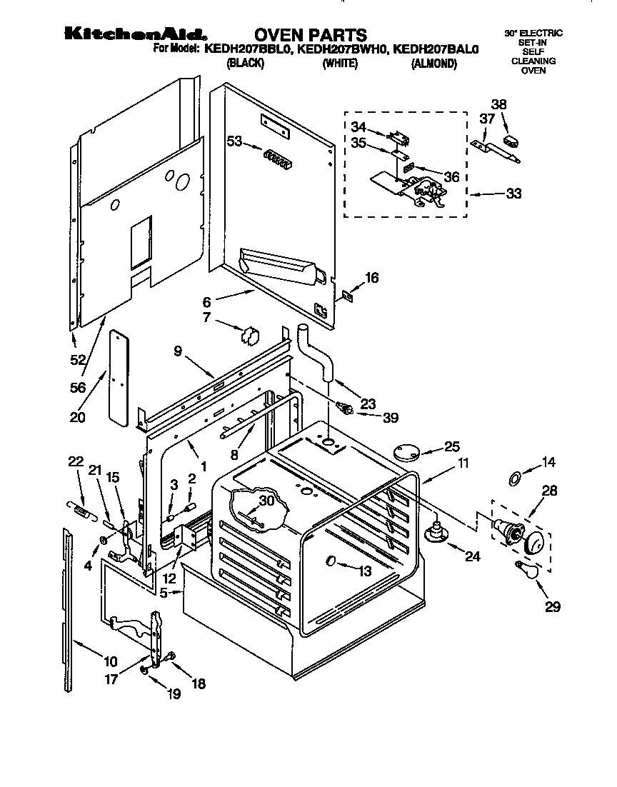 Kitchenaid model KEDH207BWH0 ranges, electric genuine parts