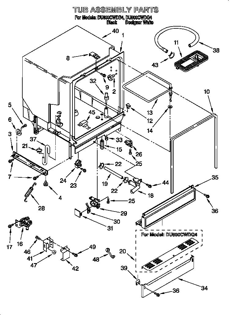 Whirlpool model DU800CWDB4 dishwasher genuine parts