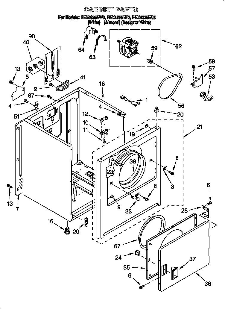 Roper model REX4635EW0 residential dryer genuine parts