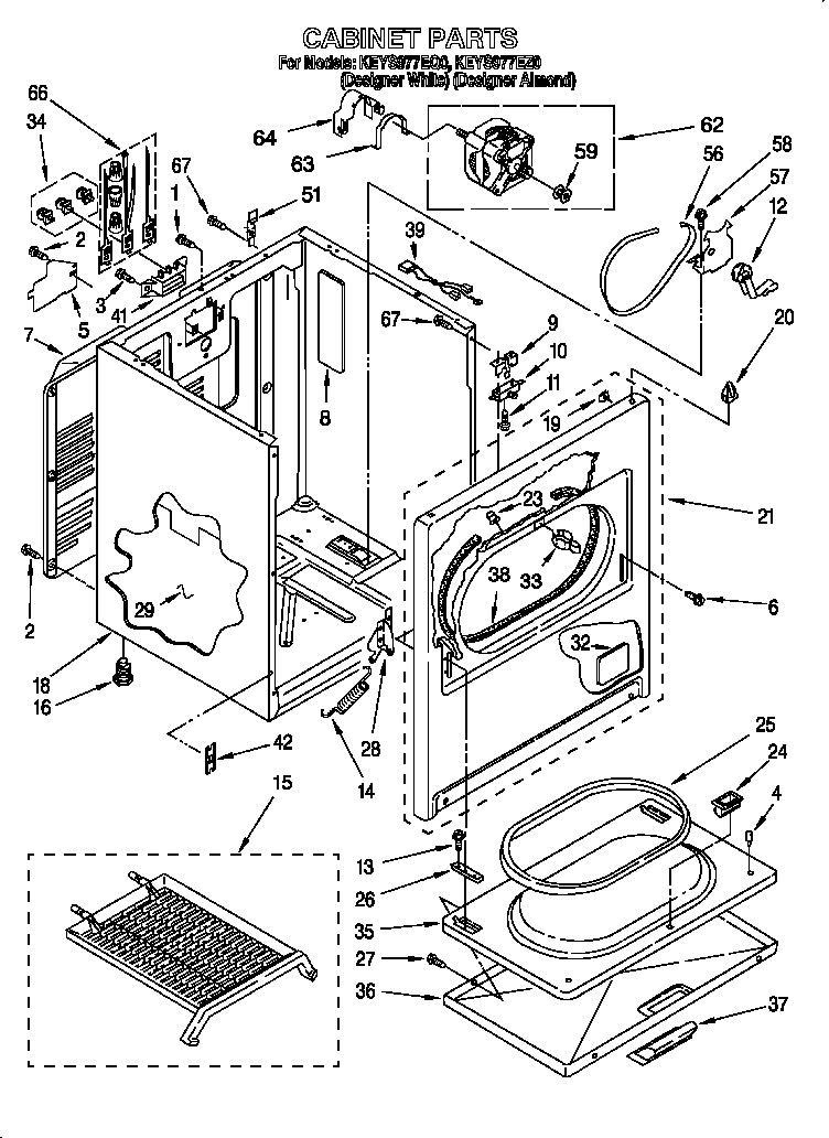 Kitchenaid model KEYS977EZ0 residential dryer genuine parts