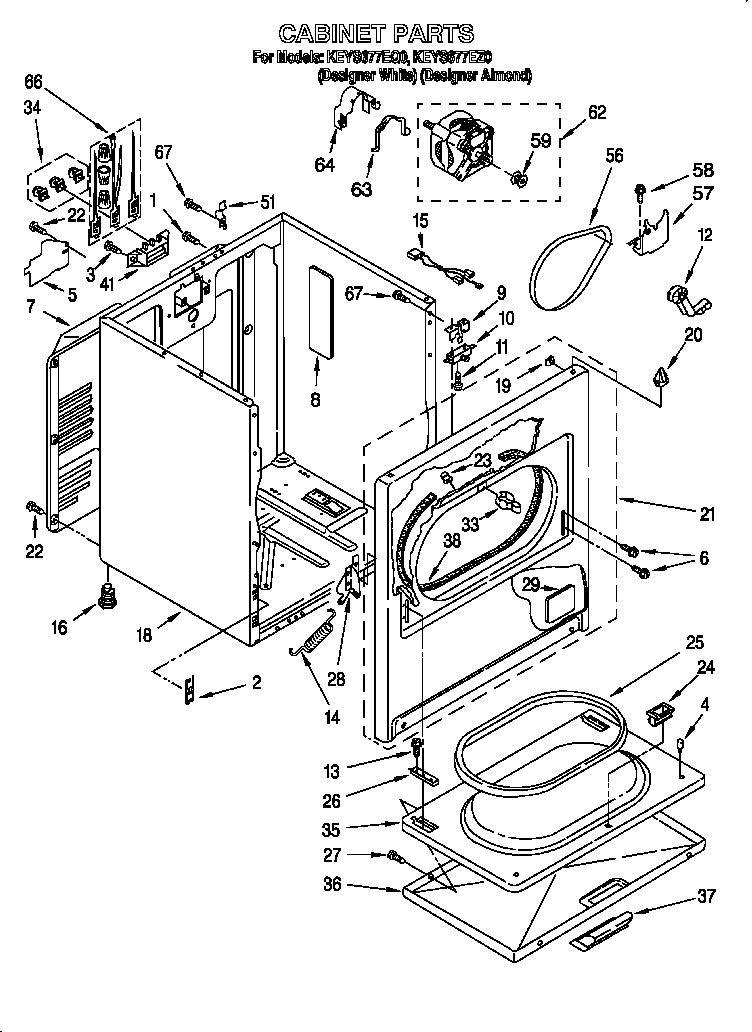 Kitchenaid model KEYS677EQ0 residential dryer genuine parts