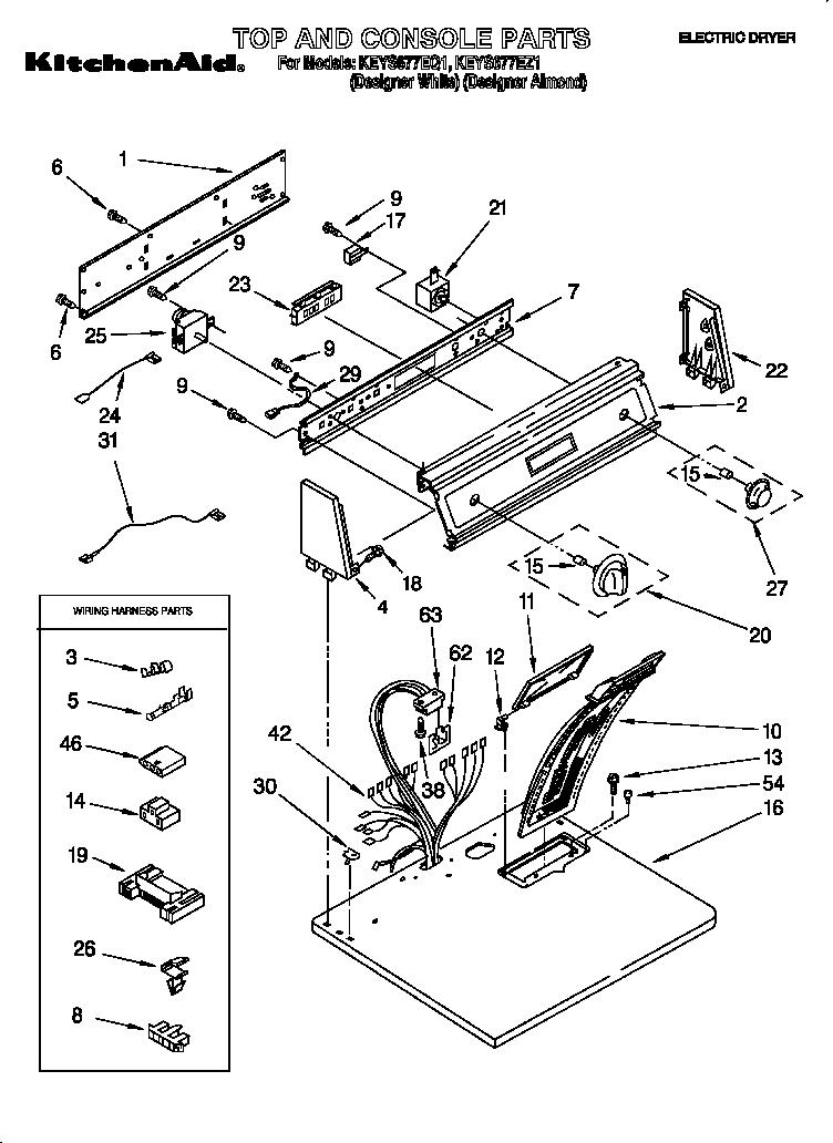 Kitchenaid model KEYS677EQ1 residential dryer genuine parts