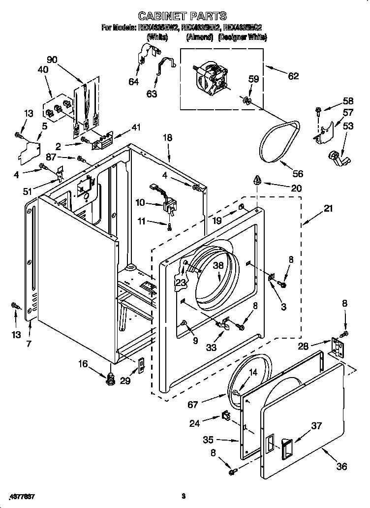 Roper model REX4635EQ2 residential dryer genuine parts