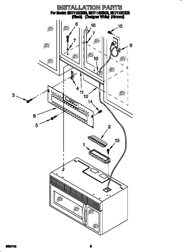 Whirlpool model MH7115XBZ5 microwave/hood combo genuine parts