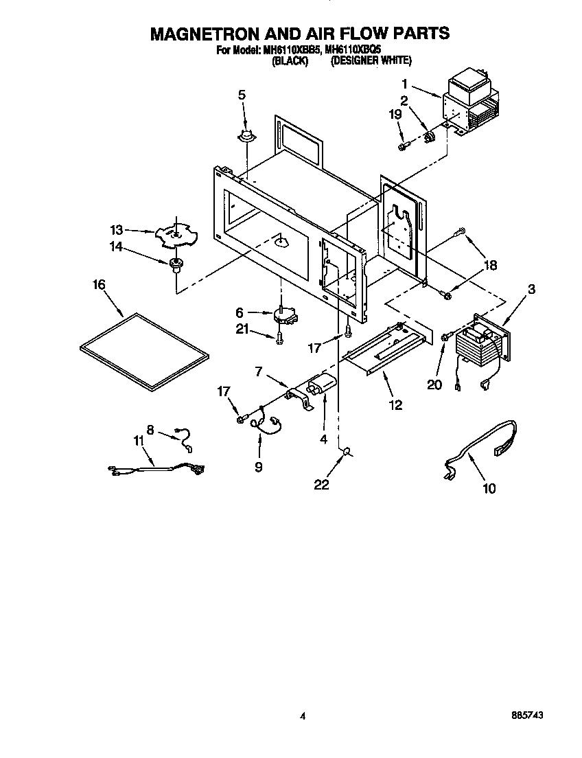 Whirlpool model MH6110XBB5 microwave/hood combo genuine parts