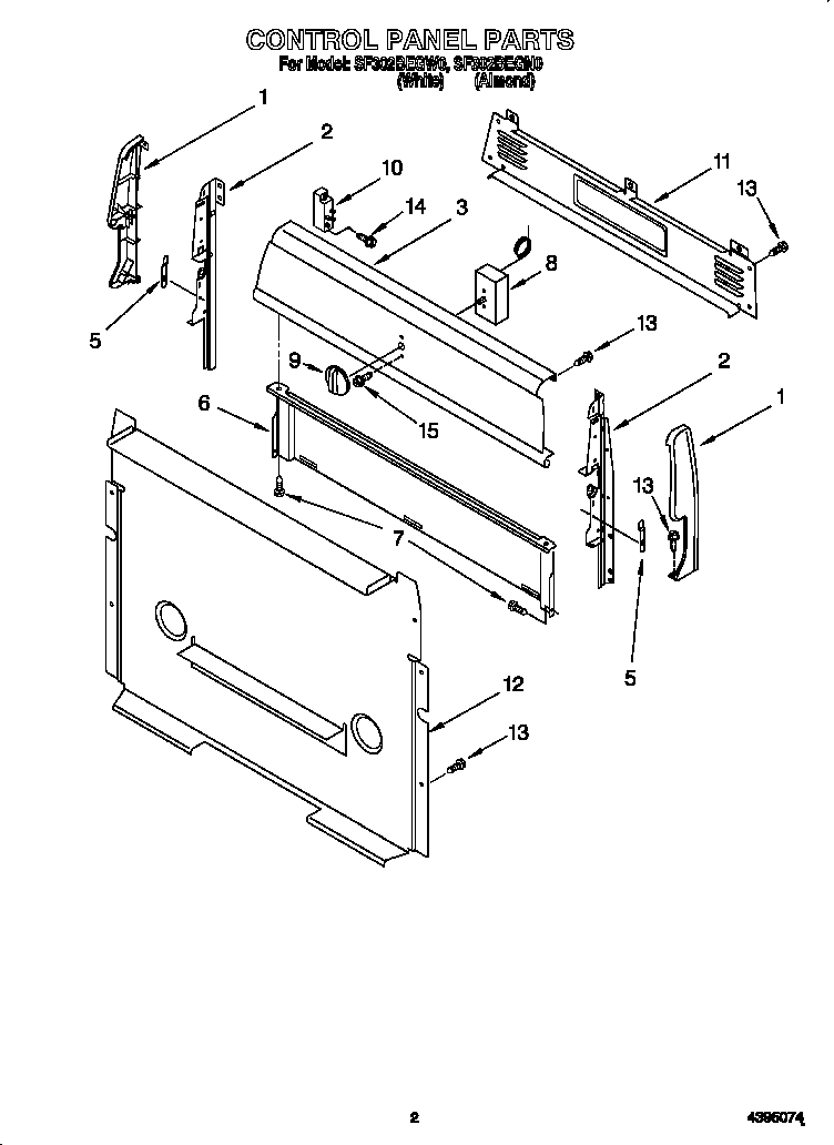 Whirlpool model SF302BEGW0 free standing, gas genuine parts