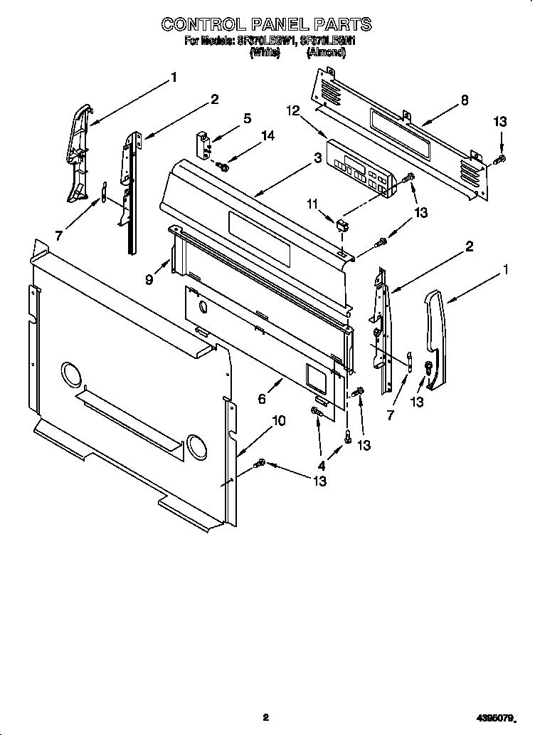 Whirlpool model SF370LEGW1 free standing, gas genuine parts