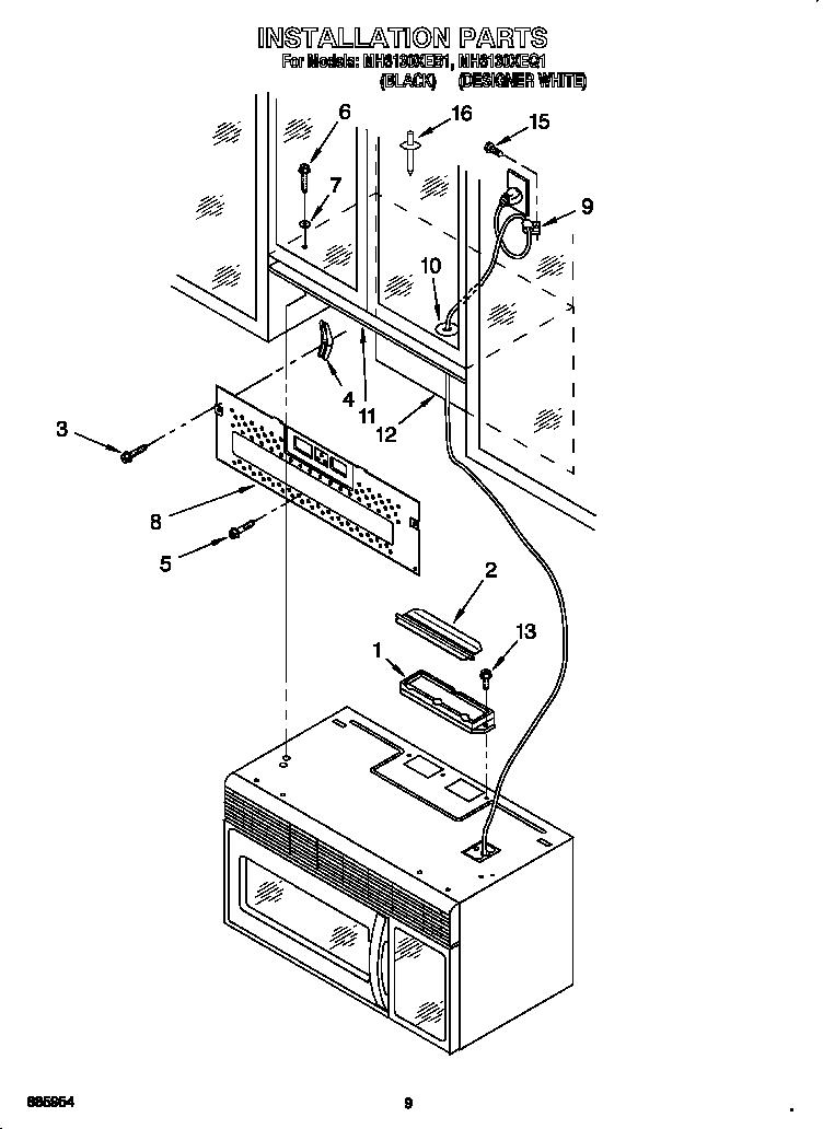 Whirlpool model MH6130XEQ1 microwave/hood combo genuine parts