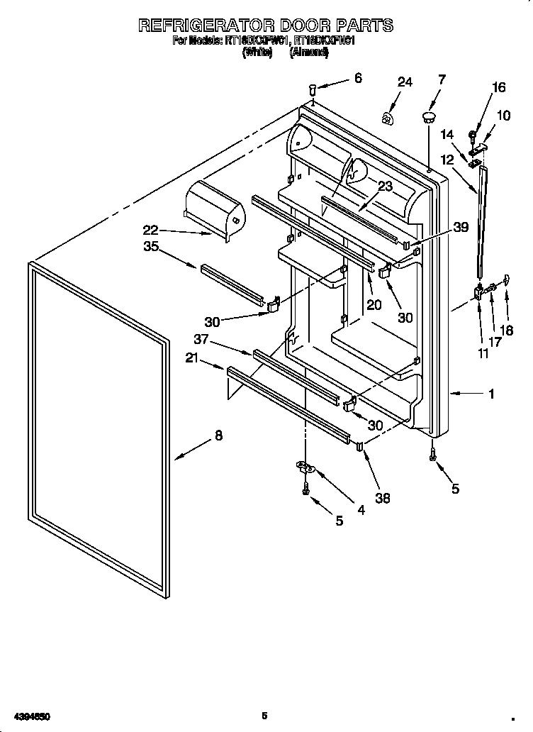 Roper model RT18DKXFW01 top-mount refrigerator genuine parts