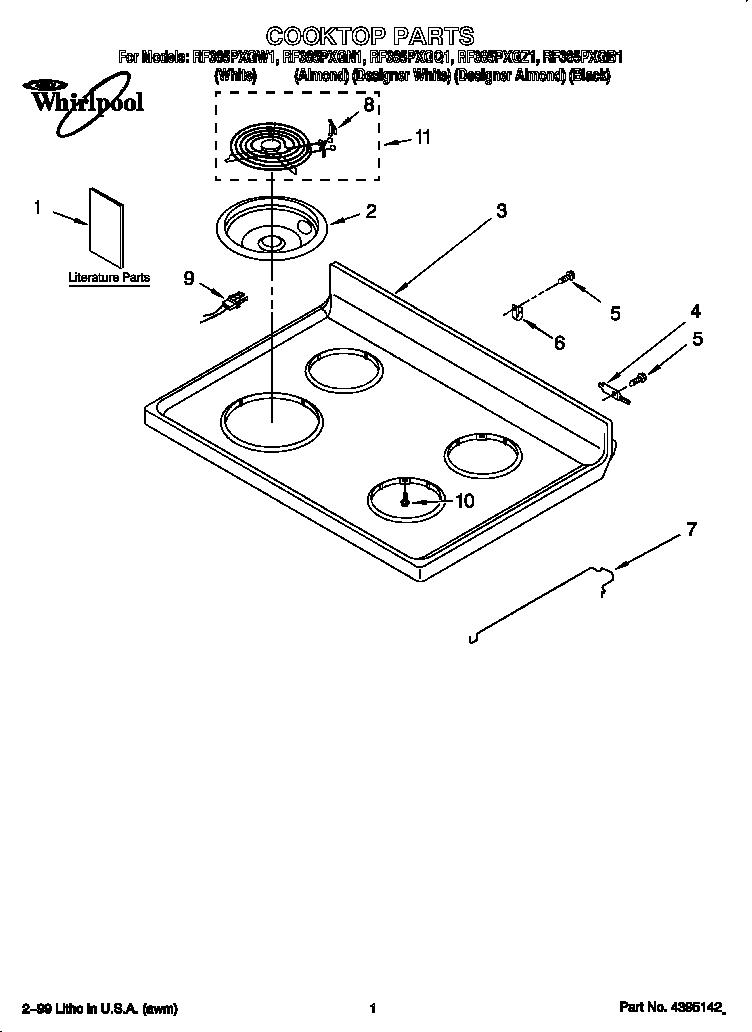 Whirlpool model RF385PXGQ1 free standing, electric genuine