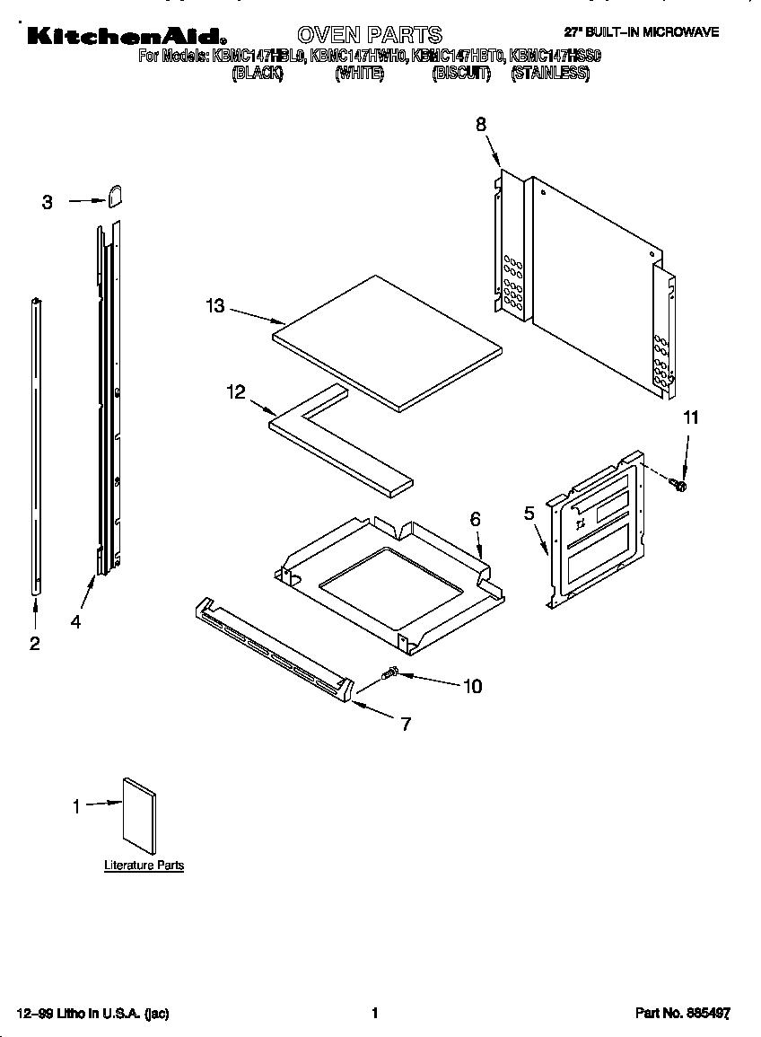 Kitchenaid model KBMC147HBL0 built-in microwave oven