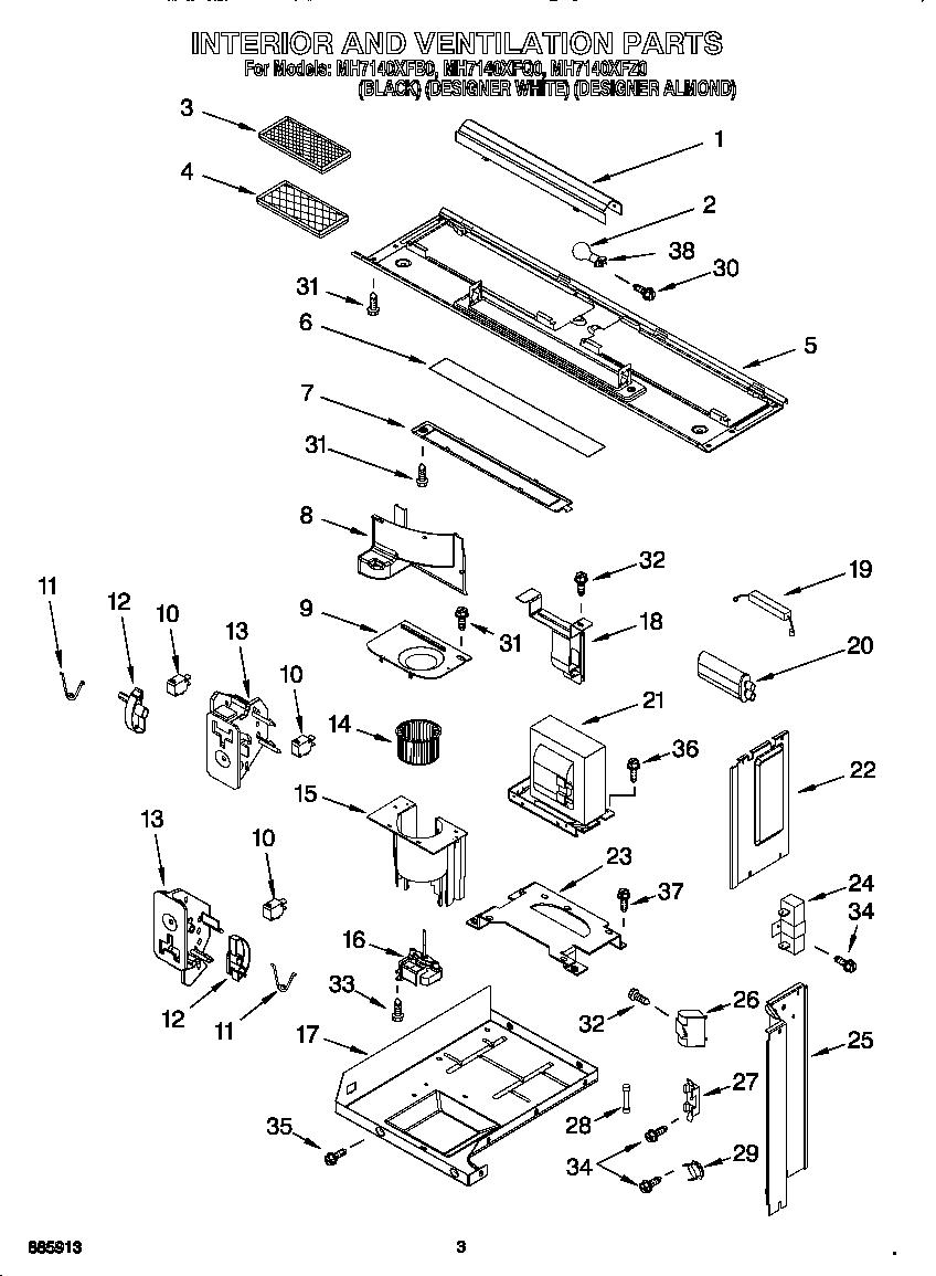 Whirlpool model MH7140XFQ0 microwave/hood combo genuine parts