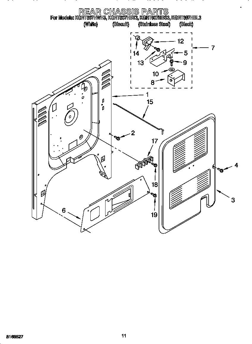 Kitchenaid model KGRT607HBL3 free standing, gas genuine parts