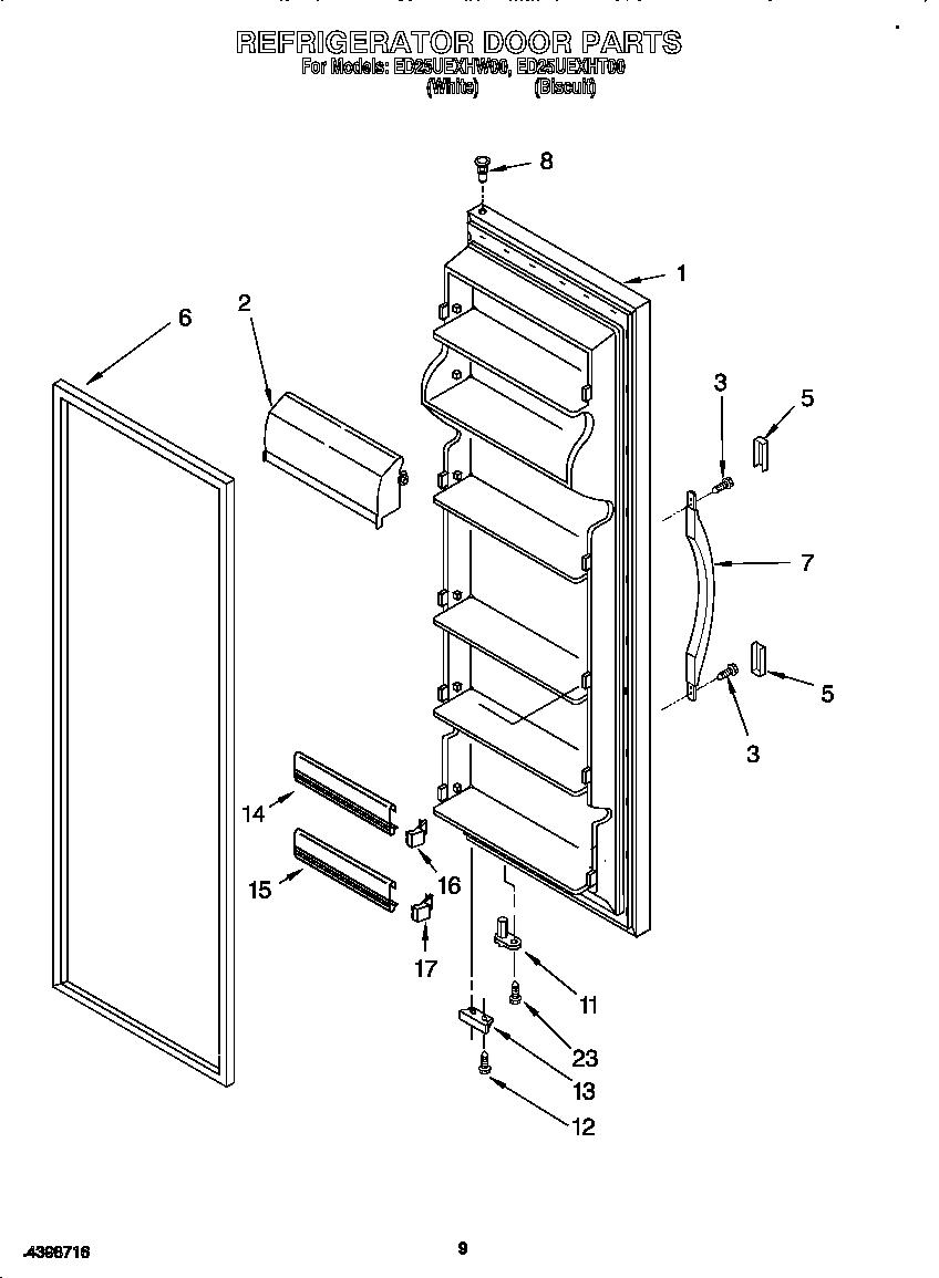 Whirlpool model ED25UEXHW00 side-by-side refrigerator
