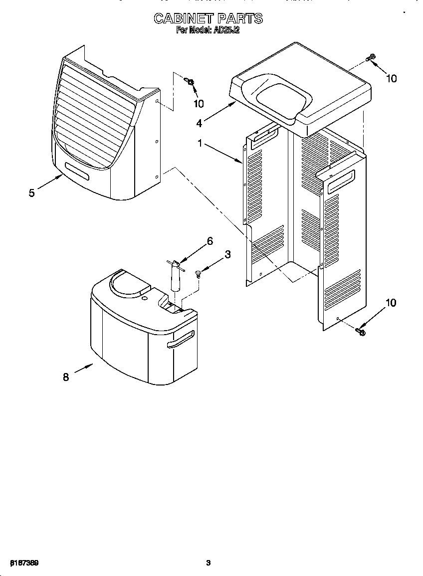 Whirlpool model AD25J2 dehumidifier genuine parts