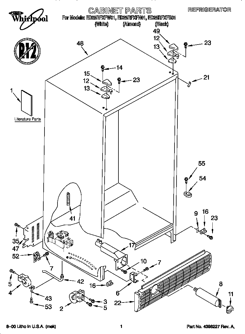 Whirlpool model ED25RFXFW01 side-by-side refrigerator