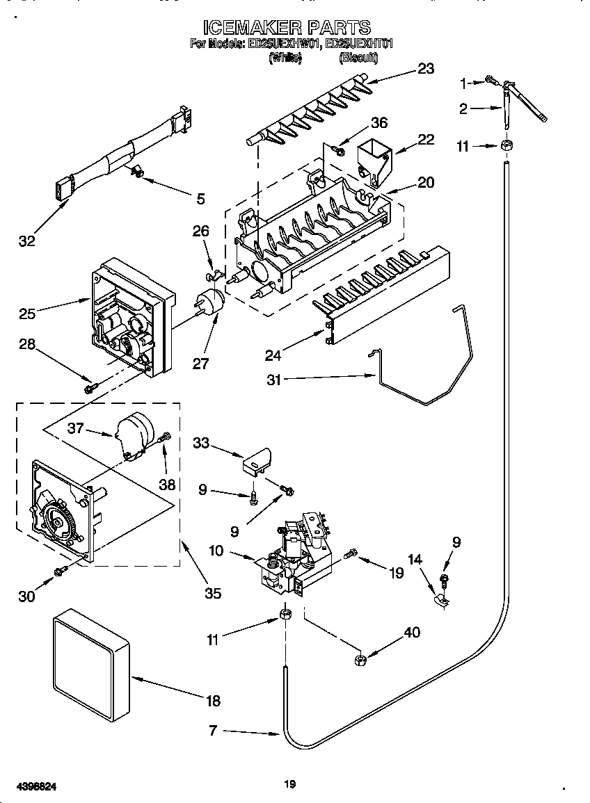 Whirlpool model ED25UEXHW01 side-by-side refrigerator