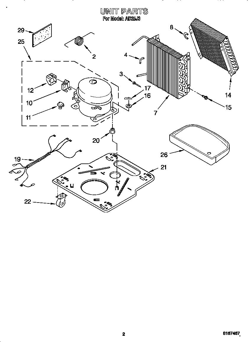 Whirlpool model AD25J3 dehumidifier genuine parts