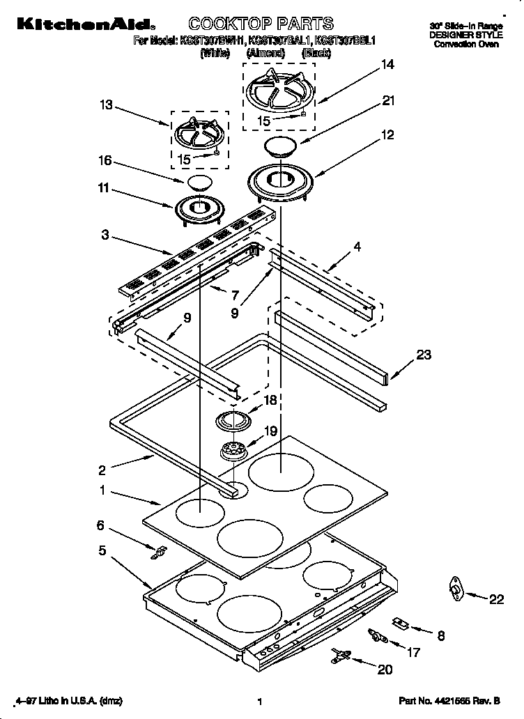 Kitchenaid model KGST307BWH1 slide-in range, gas genuine parts