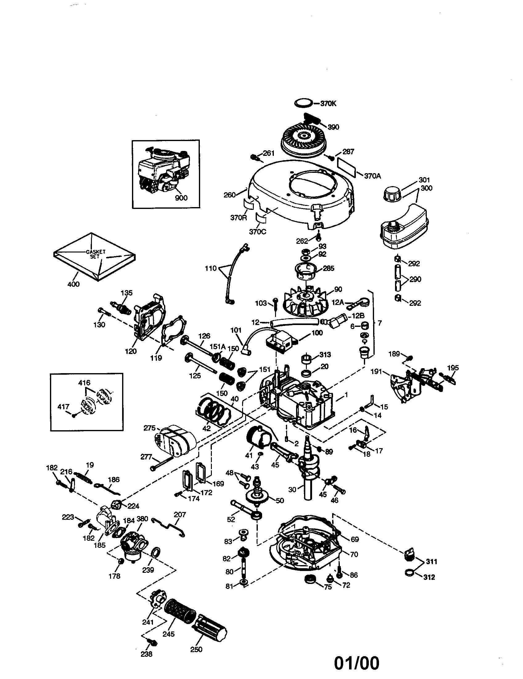 Tecumseh model LEV100-335028D engine genuine parts