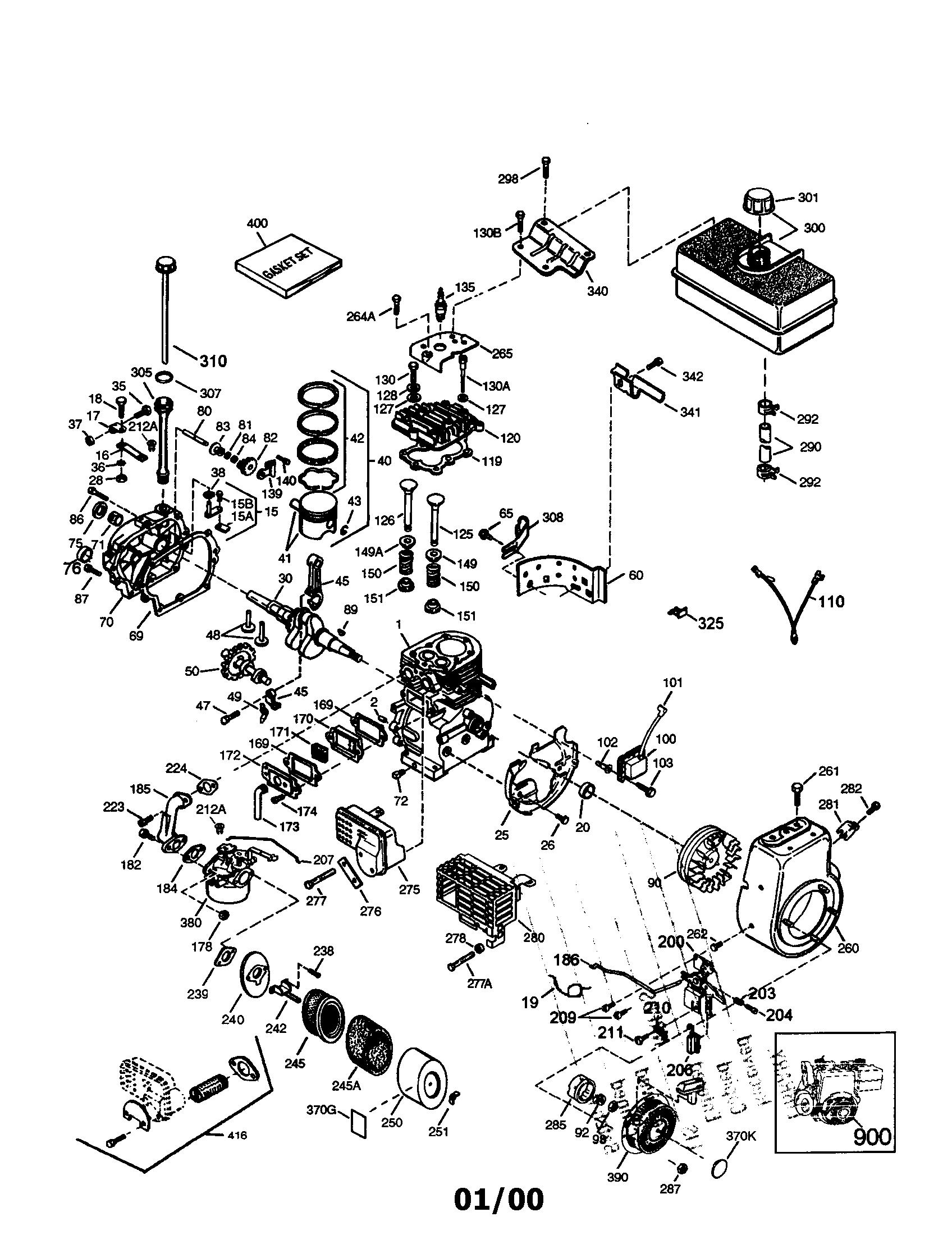 Craftsman model 143008001 engine genuine parts