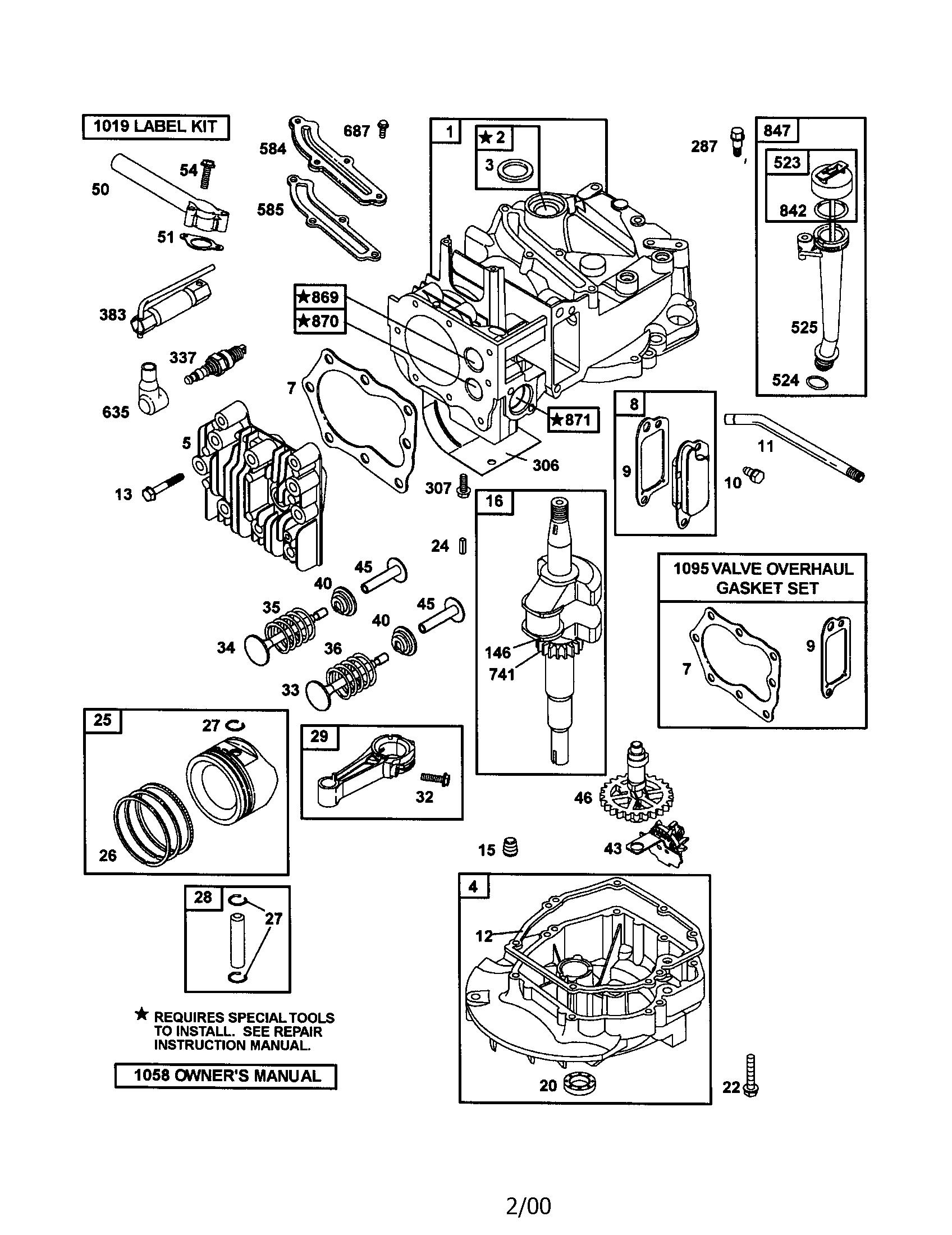 Briggs-Stratton model 12H802-1922-E1 engine genuine parts