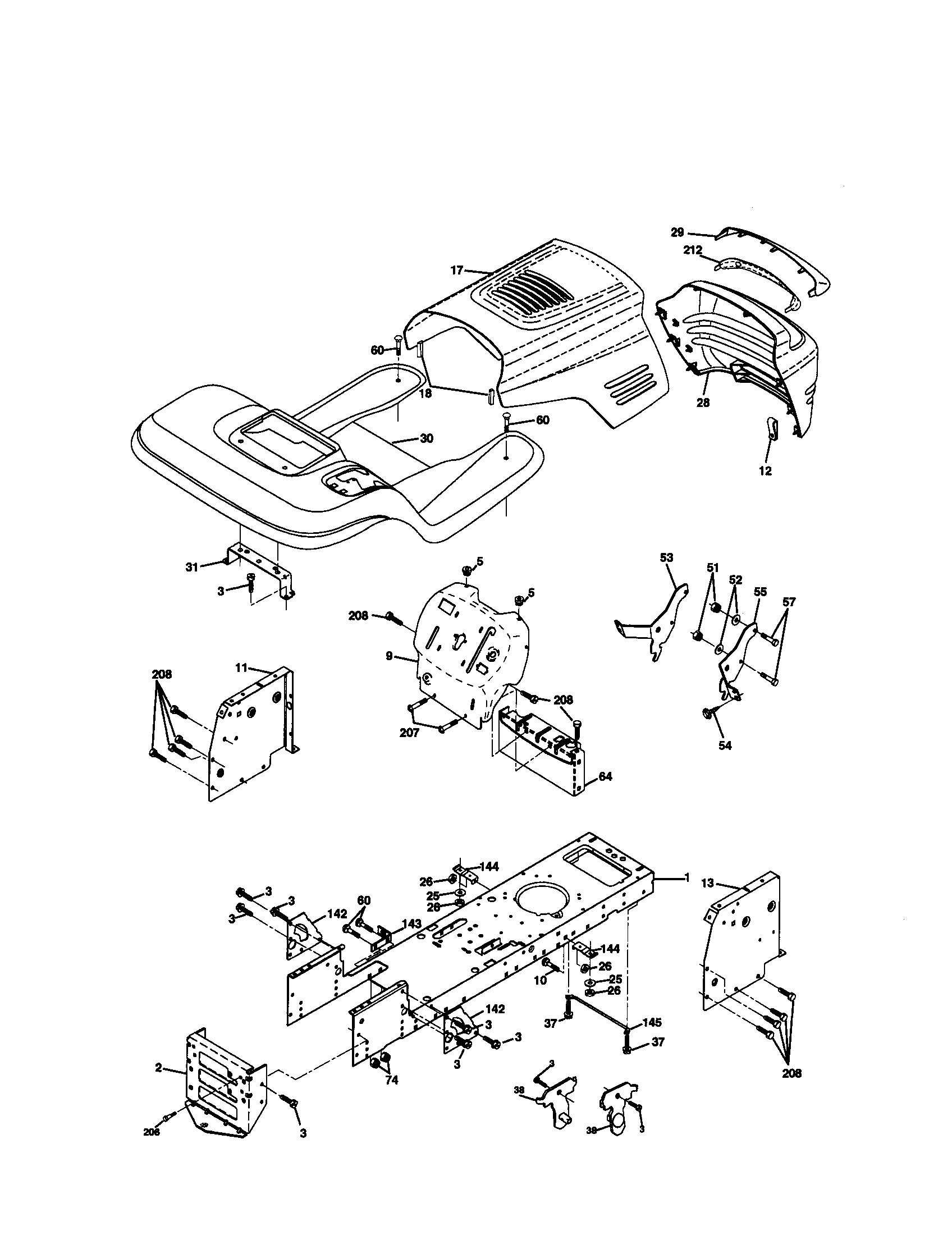 craftsman lawn tractor parts diagram wiring for motion sensor model 917270671 genuine chassis