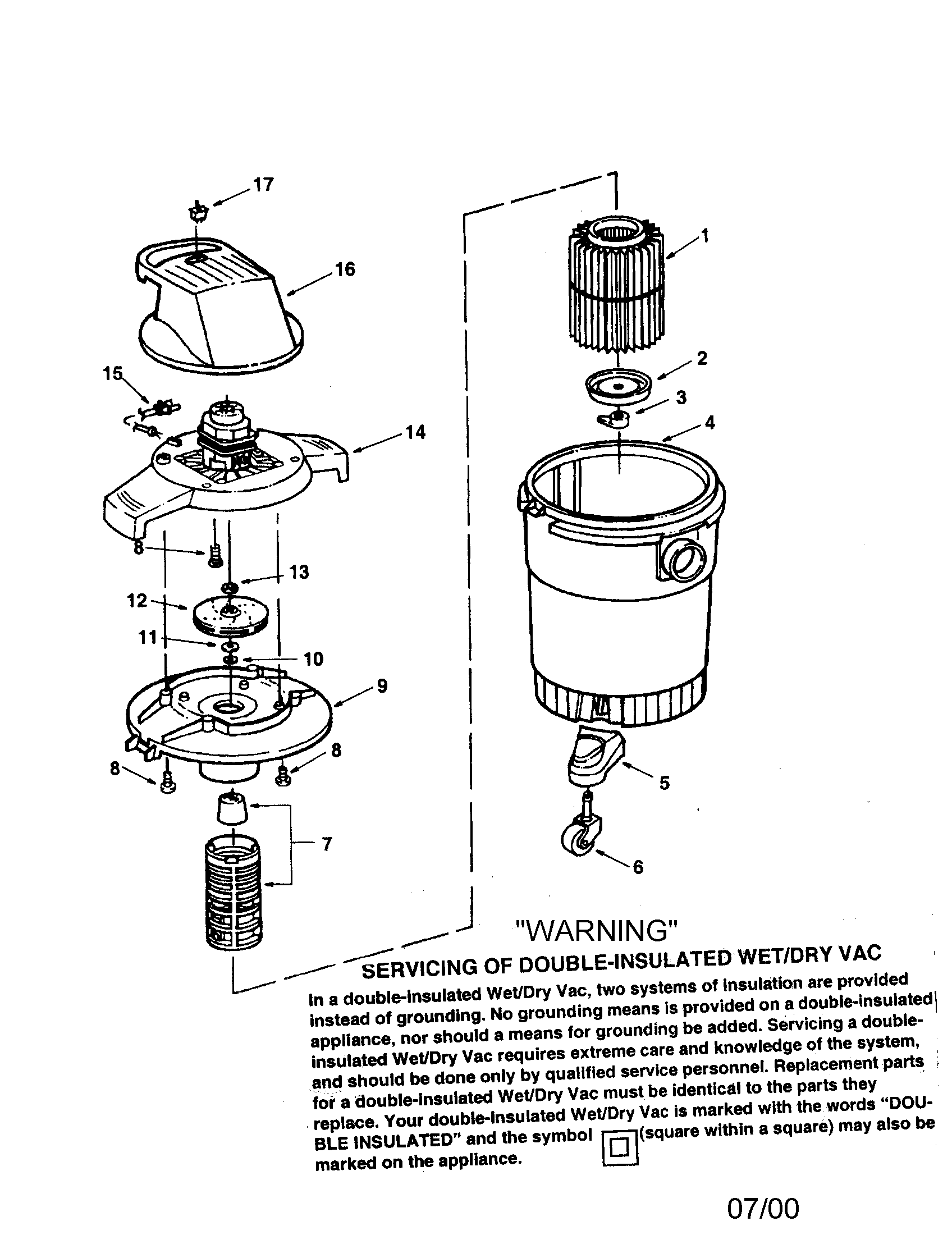 Craftsman model 113177865 wet/dry vacuum genuine parts
